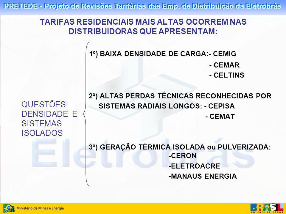 PRETEDE - Projeto de Revisões Tarifárias das Emp. de Distribuição da Eletrobrás QUESTÕES: DENSIDADE E SISTEMAS ISOLADOS 1º) BAIXA DENSIDADE DE CARGA:-