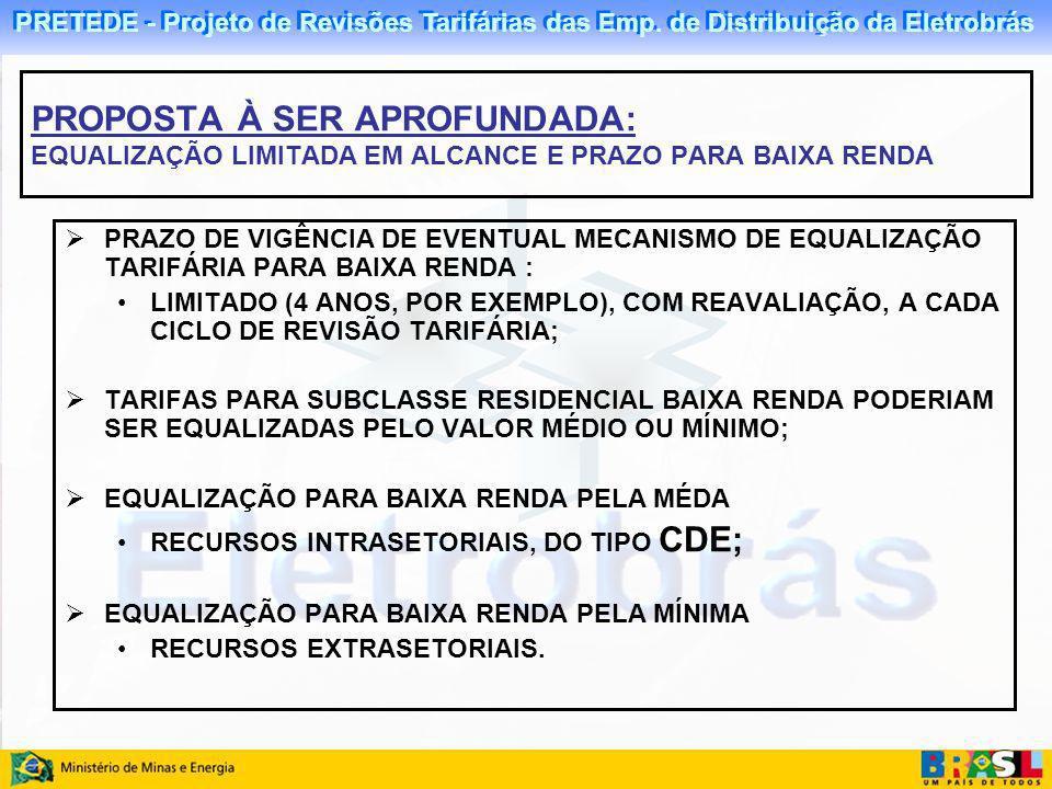 PRETEDE - Projeto de Revisões Tarifárias das Emp. de Distribuição da Eletrobrás PRAZO DE VIGÊNCIA DE EVENTUAL MECANISMO DE EQUALIZAÇÃO TARIFÁRIA PARA