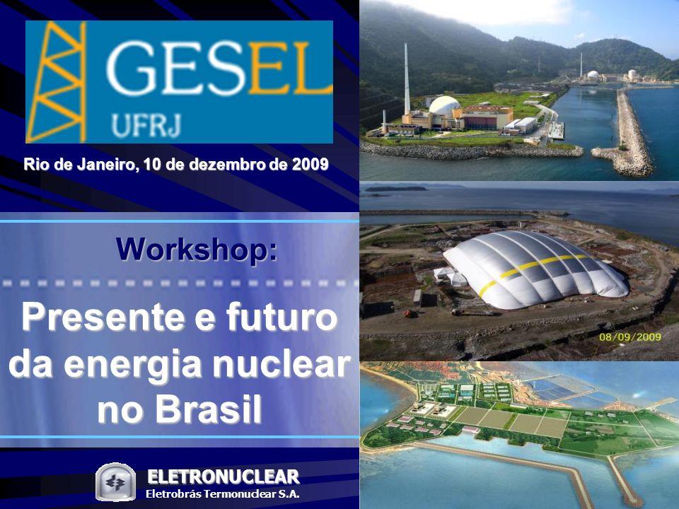 Pág. ELETRONUCLEAR Workshop: Presente e o futuro da energia nuclear no Brasil 1 ELETRONUCLEAR Eletrobrás Termonuclear S.A. Presente e futuro da energi