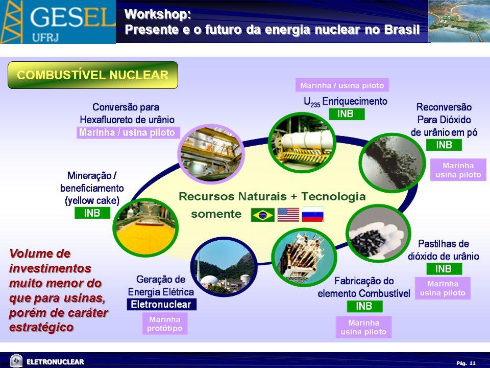 Pág. ELETRONUCLEAR Workshop: Presente e o futuro da energia nuclear no Brasil 11 COMBUSTÍVEL NUCLEAR Volume de investimentos muito menor do que para u