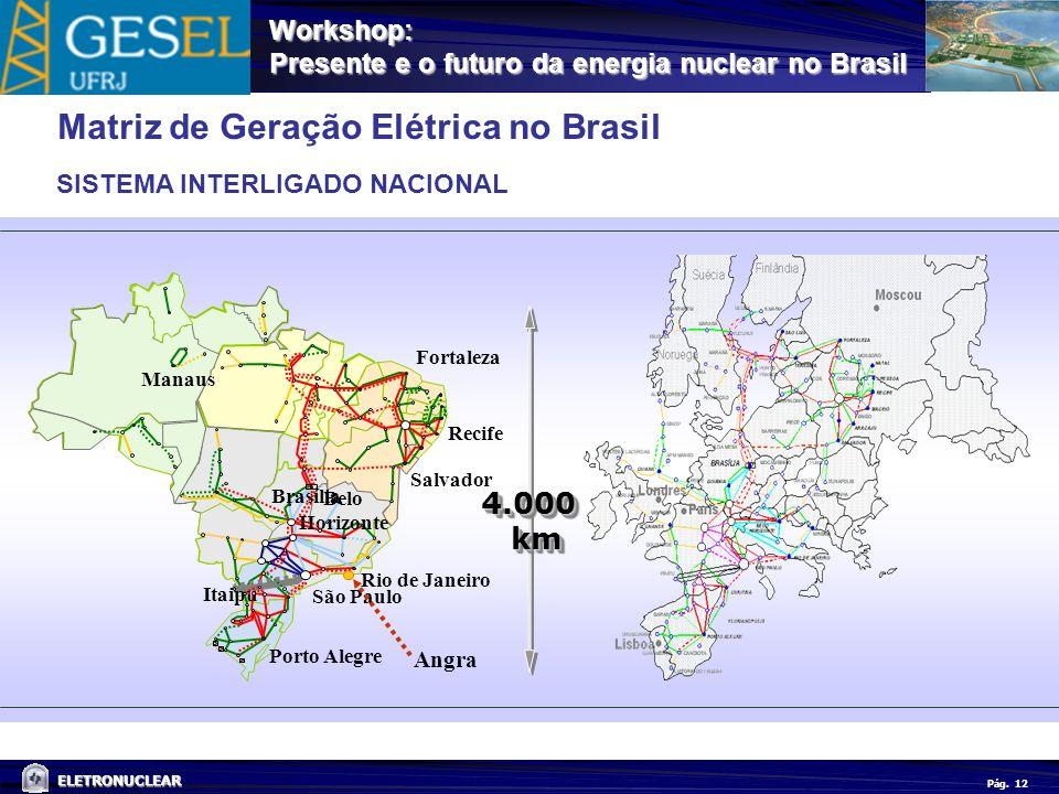 Pág. ELETRONUCLEAR Workshop: Presente e o futuro da energia nuclear no Brasil 12 SISTEMA INTERLIGADO NACIONAL Matriz de Geração Elétrica no Brasil Man