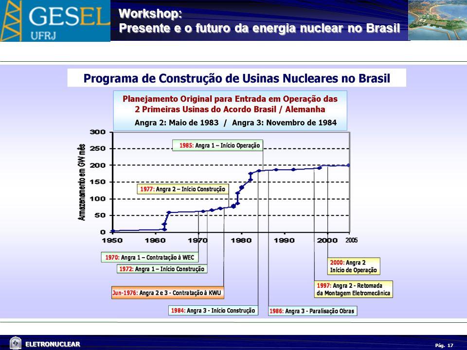 Pág. ELETRONUCLEAR Workshop: Presente e o futuro da energia nuclear no Brasil 17