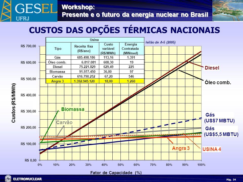 Pág. ELETRONUCLEAR Workshop: Presente e o futuro da energia nuclear no Brasil 24 CUSTOS DAS OPÇÕES TÉRMICAS NACIONAIS leilão de A-5 (2005)