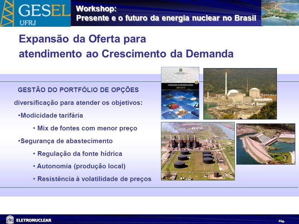 Pág. ELETRONUCLEAR Workshop: Presente e o futuro da energia nuclear no Brasil Expansão da Oferta para atendimento ao Crescimento da Demanda GESTÃO DO