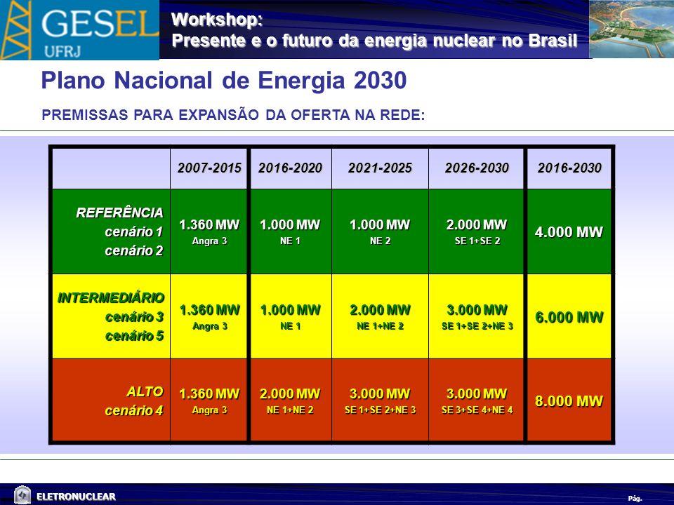 Pág. ELETRONUCLEAR Workshop: Presente e o futuro da energia nuclear no Brasil Plano Nacional de Energia 2030 PREMISSAS PARA EXPANSÃO DA OFERTA NA REDE