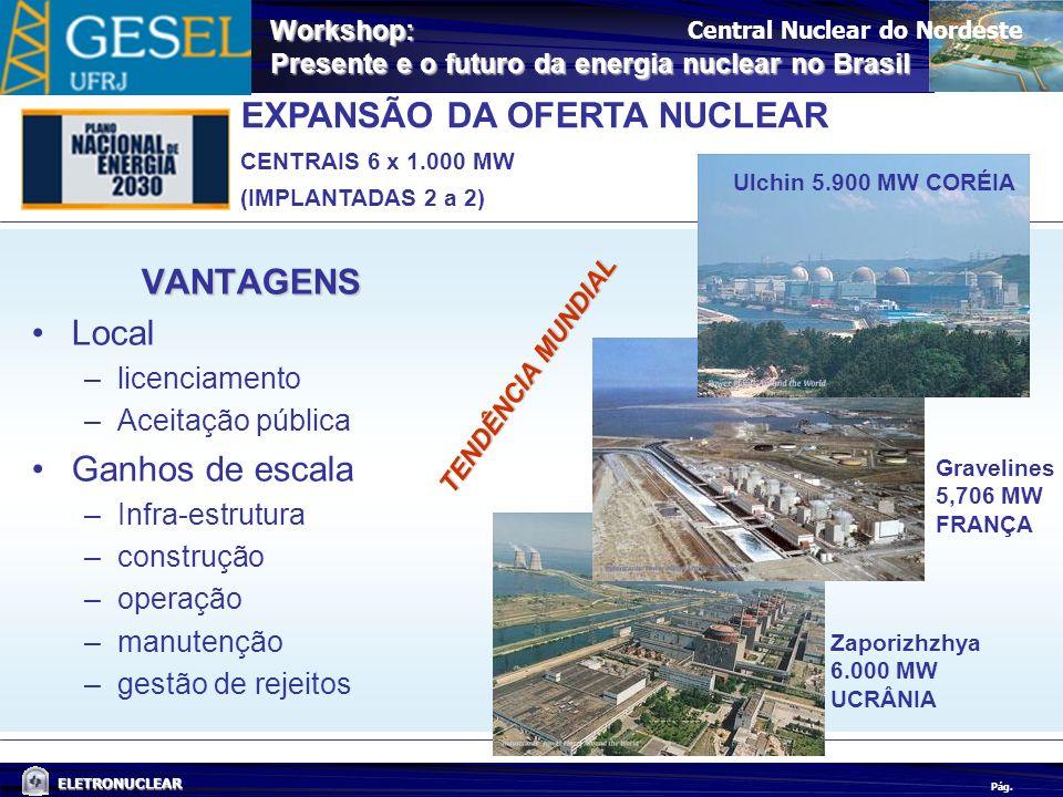 Pág. ELETRONUCLEAR Workshop: Presente e o futuro da energia nuclear no Brasil EXPANSÃO DA OFERTA NUCLEAR CENTRAIS 6 x 1.000 MW (IMPLANTADAS 2 a 2) Cen