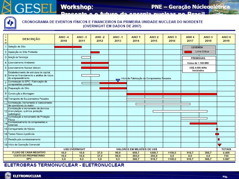 Pág. ELETRONUCLEAR Workshop: Presente e o futuro da energia nuclear no Brasil PNE – Geração Núcleoelétrica