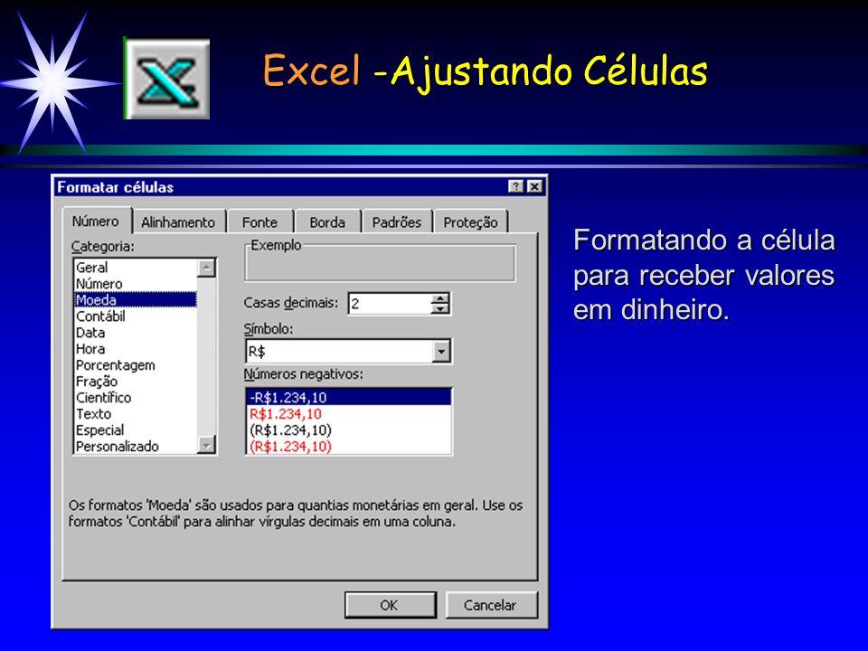 Excel -Ajustando Células Formatando a célula para receber valores em dinheiro.