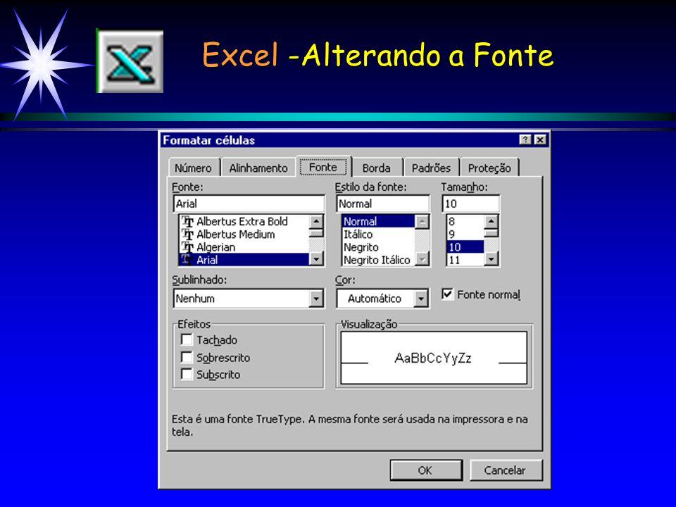 Excel -Alterando a Fonte