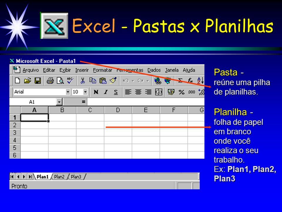 Excel - Pastas x Planilhas Pasta - reúne uma pilha de planilhas.