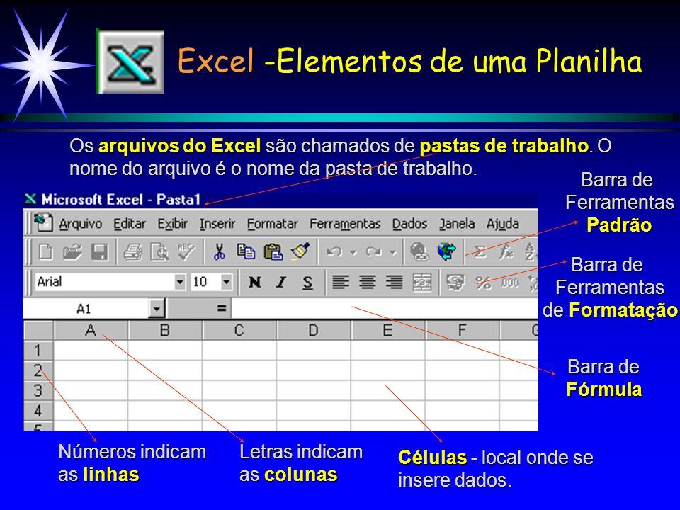 Excel -Elementos de uma Planilha Os arquivos do Excel são chamados de pastas de trabalho.