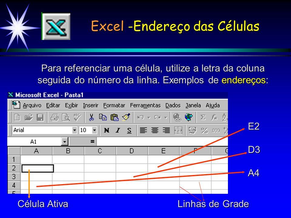 Excel -Endereço das Células Para referenciar uma célula, utilize a letra da coluna seguida do número da linha.