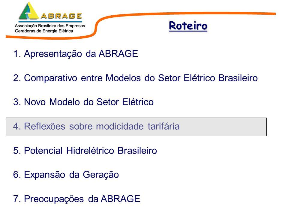 1.Apresentação da ABRAGE 2.Comparativo entre Modelos do Setor Elétrico Brasileiro 3.Novo Modelo do Setor Elétrico 4.Reflexões sobre modicidade tarifár