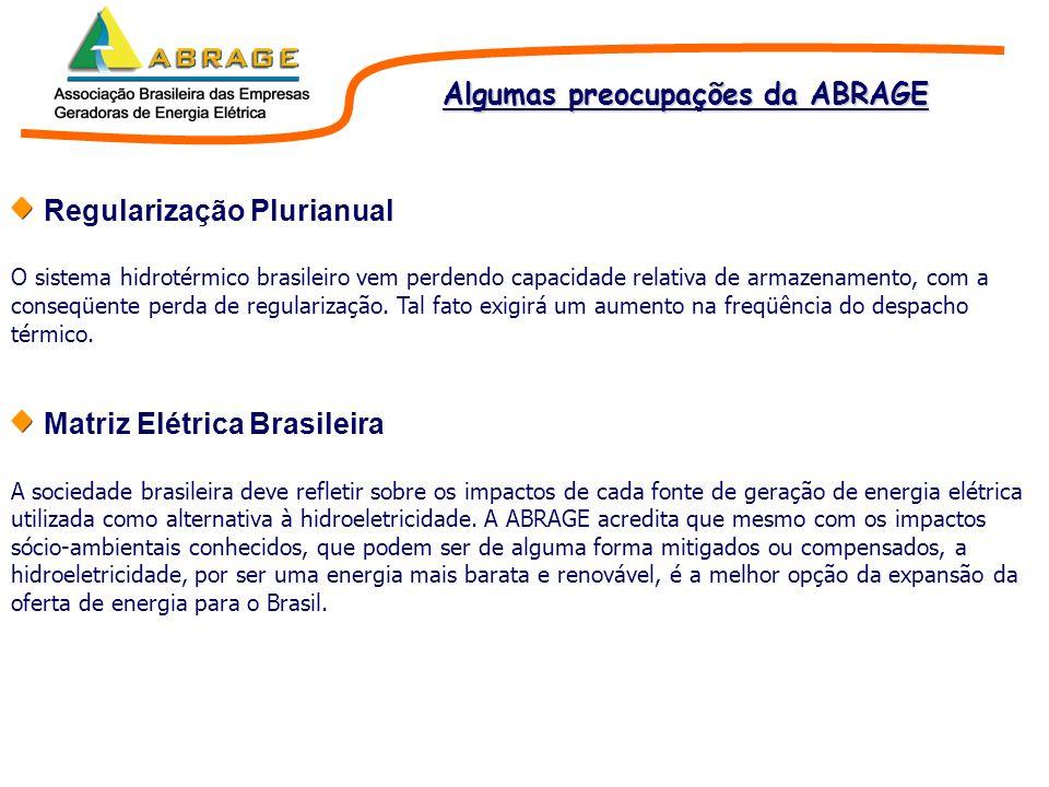 Regularização Plurianual O sistema hidrotérmico brasileiro vem perdendo capacidade relativa de armazenamento, com a conseqüente perda de regularização