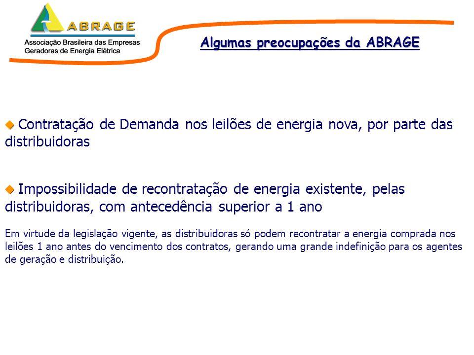 Contratação de Demanda nos leilões de energia nova, por parte das distribuidoras Impossibilidade de recontratação de energia existente, pelas distribu