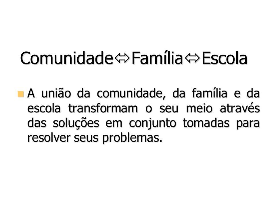 Comunidade Família Escola A união da comunidade, da família e da escola transformam o seu meio através das soluções em conjunto tomadas para resolver