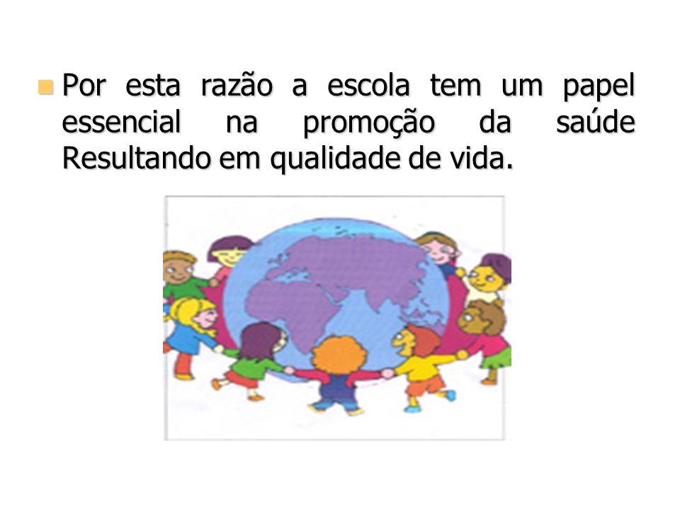 Por esta razão a escola tem um papel essencial na promoção da saúde Resultando em qualidade de vida. Por esta razão a escola tem um papel essencial na