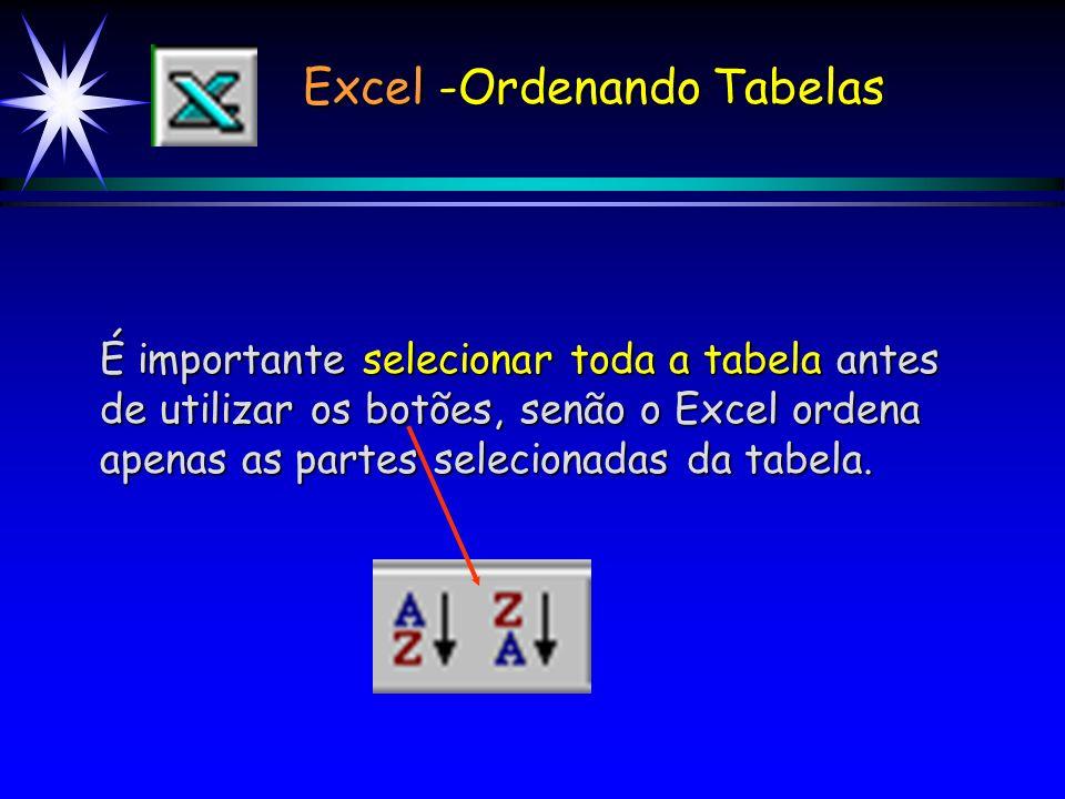 Excel -Ordenando Tabelas Utilizando-se a barra de Ferramentas para classificar, basta: 1) Selecionar a tabela; 2) Classificar em Ordem Crescente, cliq