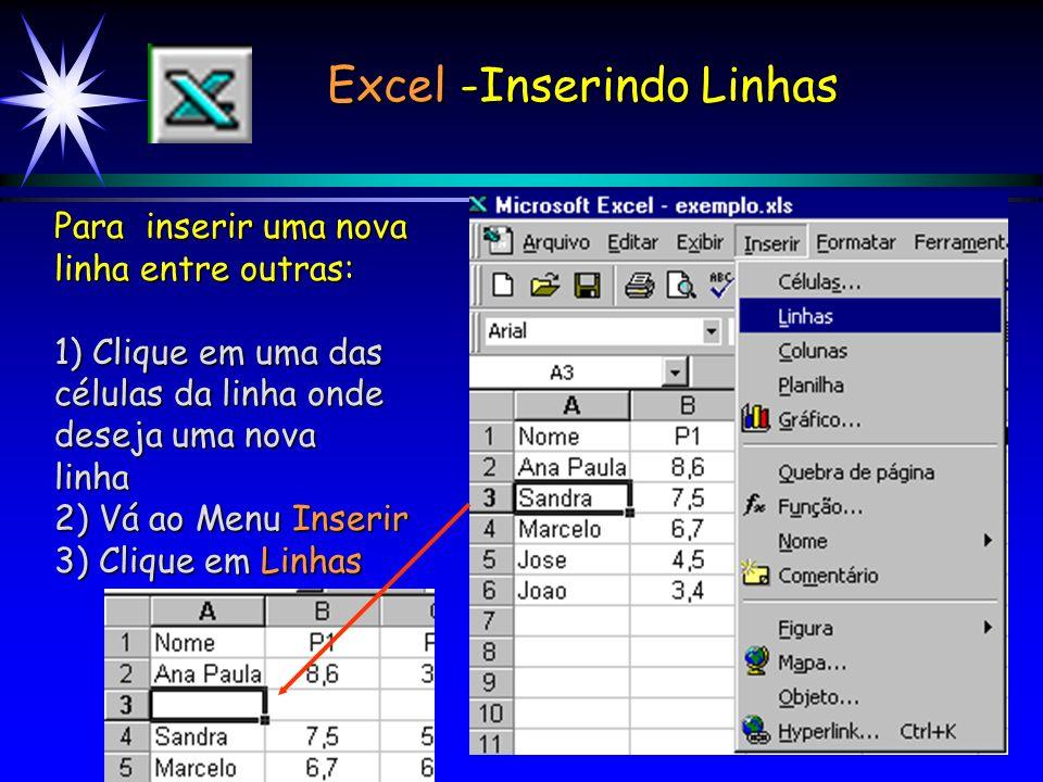 Excel -Inserindo Linhas Para inserir uma nova linha entre outras: 1) Clique em uma das células da linha onde deseja uma nova linha 2) Vá ao Menu Inserir 3) Clique em Linhas