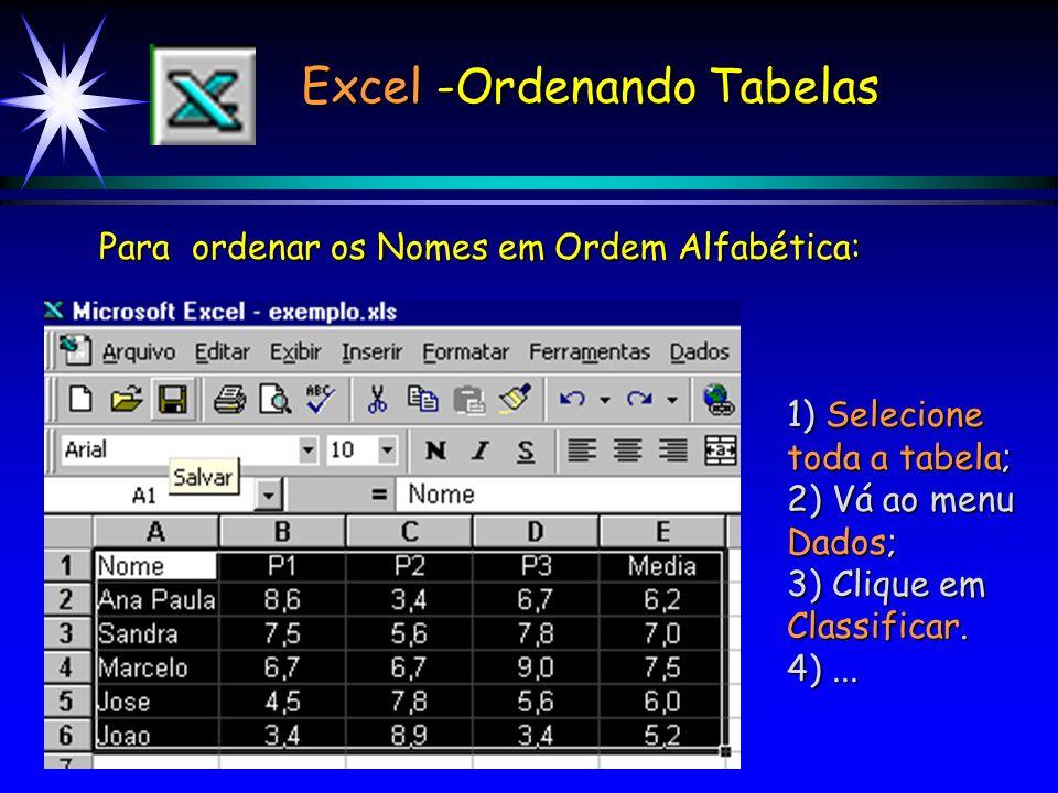 Excel -Ordenando Tabelas Para ordenar os Nomes em Ordem Alfabética: 1) Selecione toda a tabela; 2) Vá ao menu Dados; 3) Clique em Classificar.