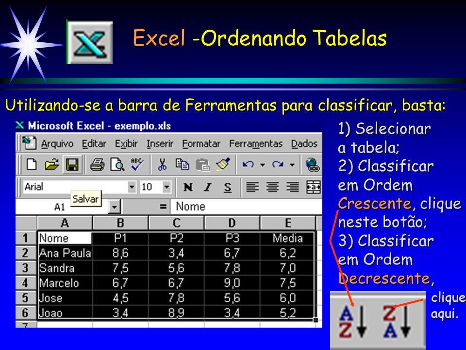 Excel -Ordenando Tabelas 4) Para classificar por Nome, escolha Nome aqui. 5) Para que os dados fique em ordem alfabética clique em Crescente. 6) Cliqu