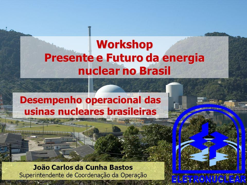 João Carlos da Cunha Bastos Superintendente de Coordenação da Operação Desempenho operacional das usinas nucleares brasileiras Workshop Presente e Fut