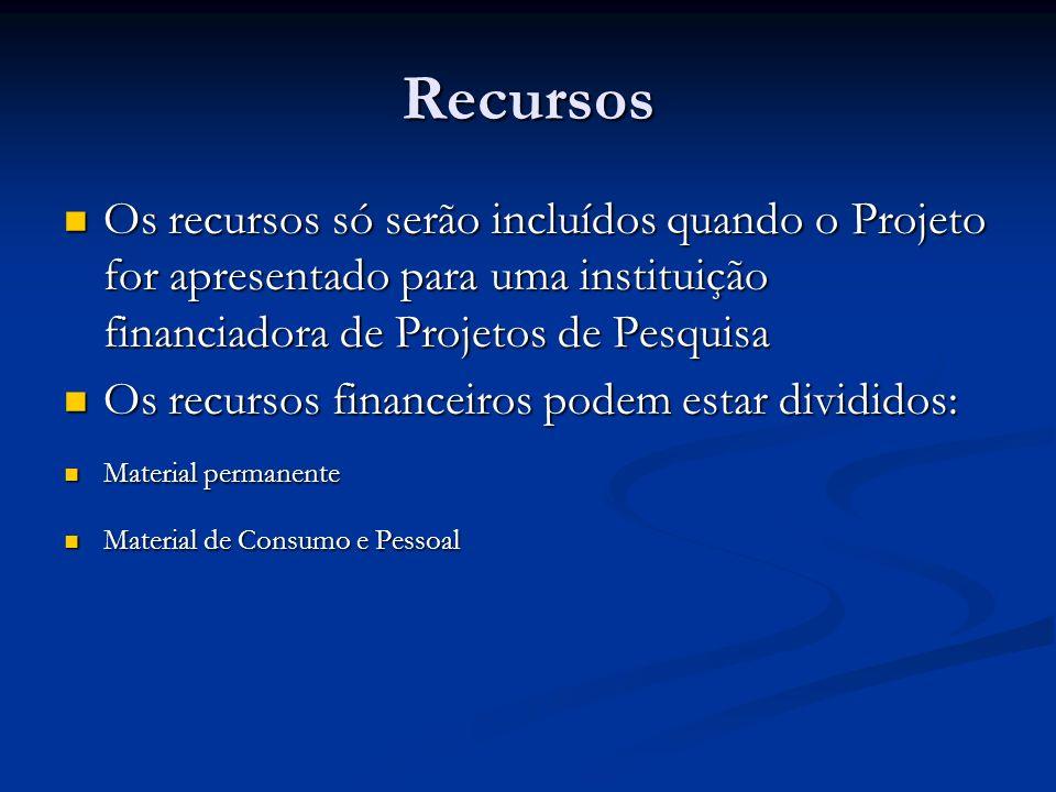Recursos Os recursos só serão incluídos quando o Projeto for apresentado para uma instituição financiadora de Projetos de Pesquisa Os recursos só serã