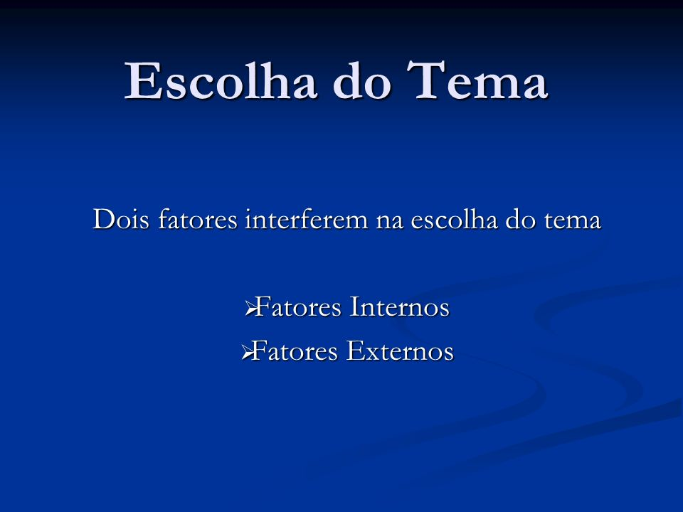 Escolha do Tema Dois fatores interferem na escolha do tema Fatores Internos Fatores Internos Fatores Externos Fatores Externos