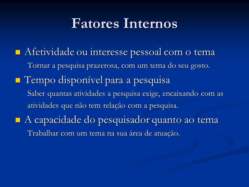Fatores Internos Afetividade ou interesse pessoal com o tema Afetividade ou interesse pessoal com o tema Tornar a pesquisa prazerosa, com um tema do s
