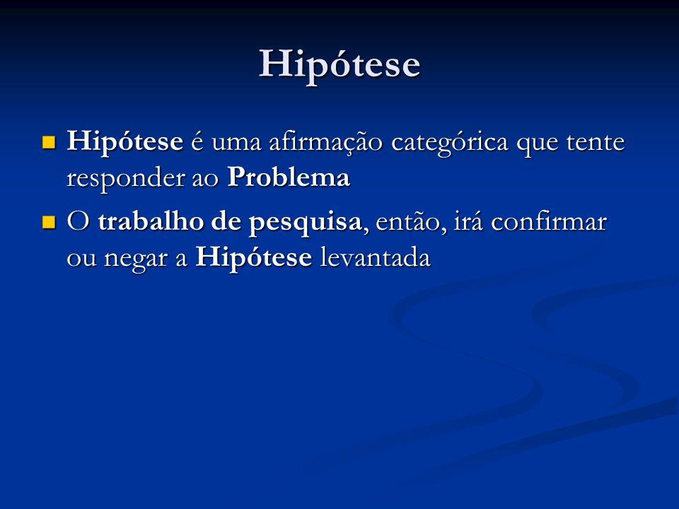 Hipótese Hipótese é uma afirmação categórica que tente responder ao Problema Hipótese é uma afirmação categórica que tente responder ao Problema O tra