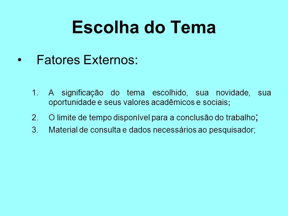 Escolha do Tema Fatores Externos: 1.A significação do tema escolhido, sua novidade, sua oportunidade e seus valores acadêmicos e sociais ; 2.O limite