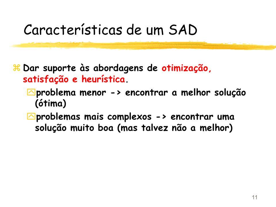 11 Características de um SAD zDar suporte às abordagens de otimização, satisfação e heurística. yproblema menor -> encontrar a melhor solução (ótima)