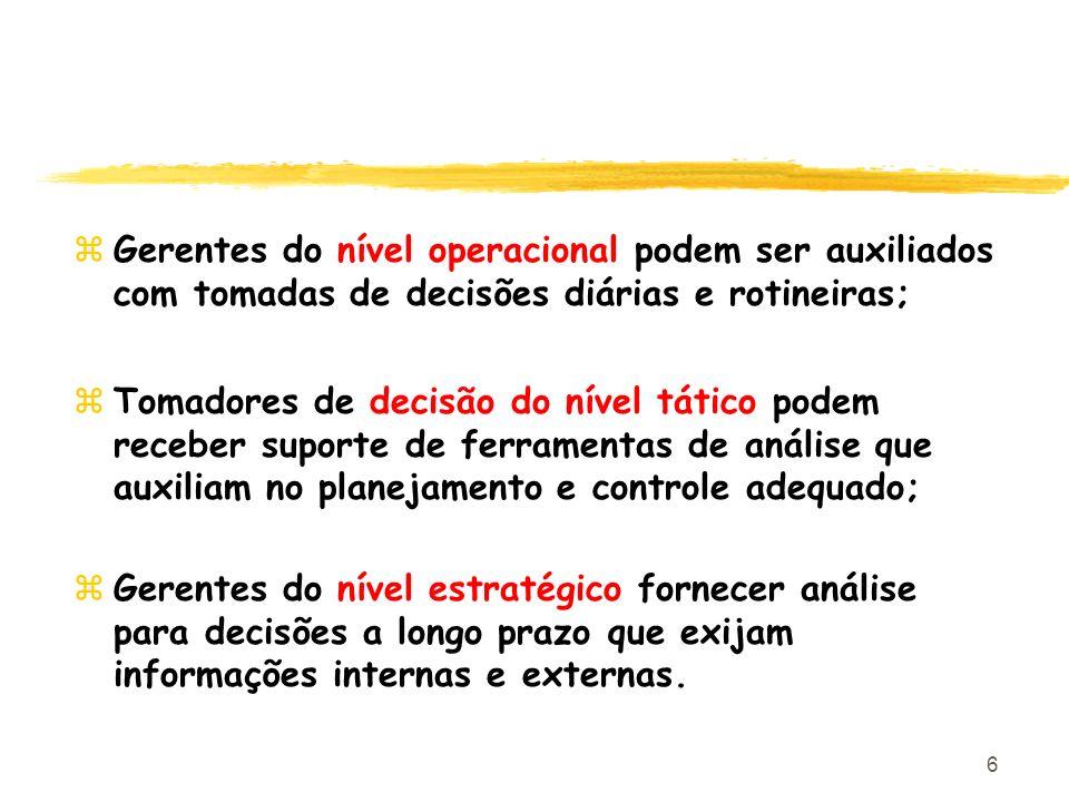 6 zGerentes do nível operacional podem ser auxiliados com tomadas de decisões diárias e rotineiras; zTomadores de decisão do nível tático podem recebe