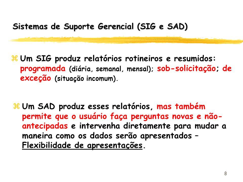8 zUm SIG produz relatórios rotineiros e resumidos: programada (diária, semanal, mensal); sob-solicitação; de exceção (situação incomum). zUm SAD prod