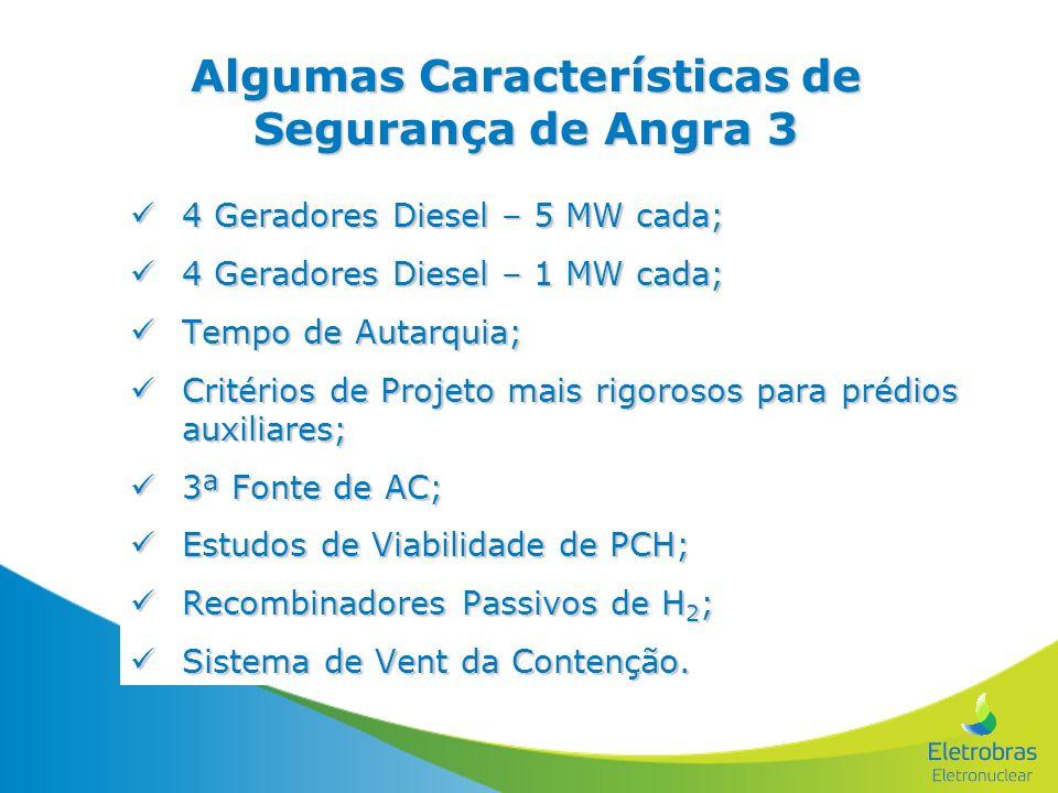 Algumas Características de Segurança de Angra 3 4 Geradores Diesel – 5 MW cada; 4 Geradores Diesel – 5 MW cada; 4 Geradores Diesel – 1 MW cada; 4 Gera