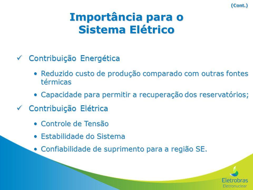 Importância para o Sistema Elétrico Contribuição Energética Contribuição Energética Reduzido custo de produção comparado com outras fontes térmicasRed
