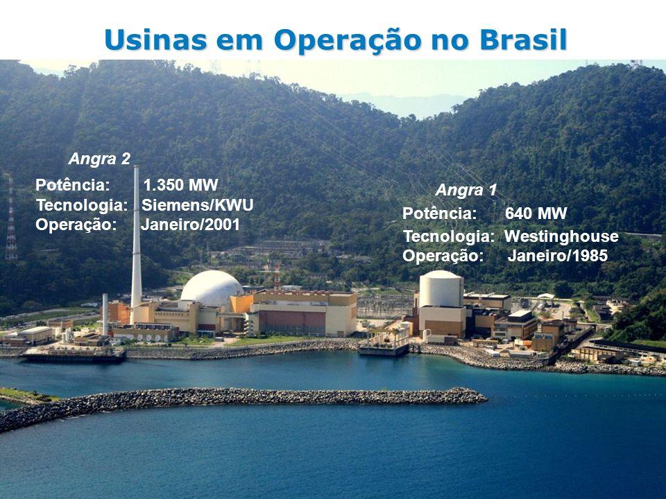 Usinas em Operação no Brasil Angra 2 Potência: 1.350 MW Tecnologia: Siemens/KWU Operação: Janeiro/2001 Angra 1 Potência: 640 MW Tecnologia: Westinghou