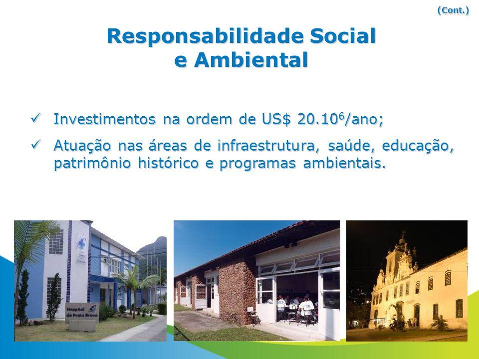 Investimentos na ordem de US$ 20.10 6 /ano; Investimentos na ordem de US$ 20.10 6 /ano; Atuação nas áreas de infraestrutura, saúde, educação, patrimôn