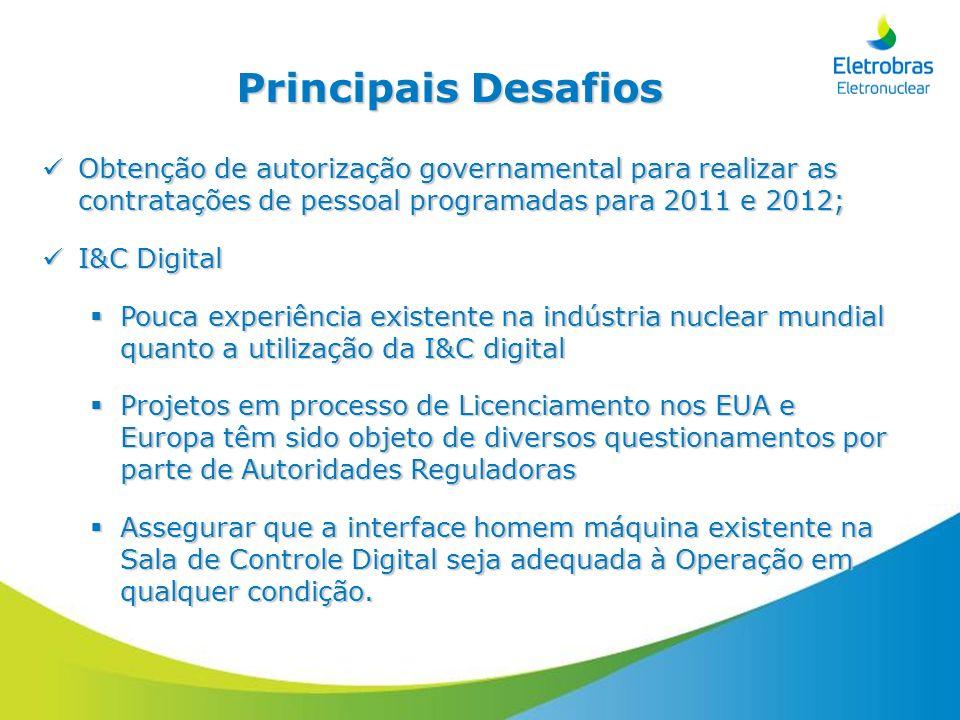 Principais Desafios Obtenção de autorização governamental para realizar as contratações de pessoal programadas para 2011 e 2012; Obtenção de autorizaç