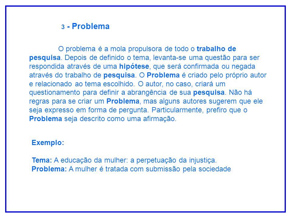3 - Problema O problema é a mola propulsora de todo o trabalho de pesquisa. Depois de definido o tema, levanta-se uma questão para ser respondida atra