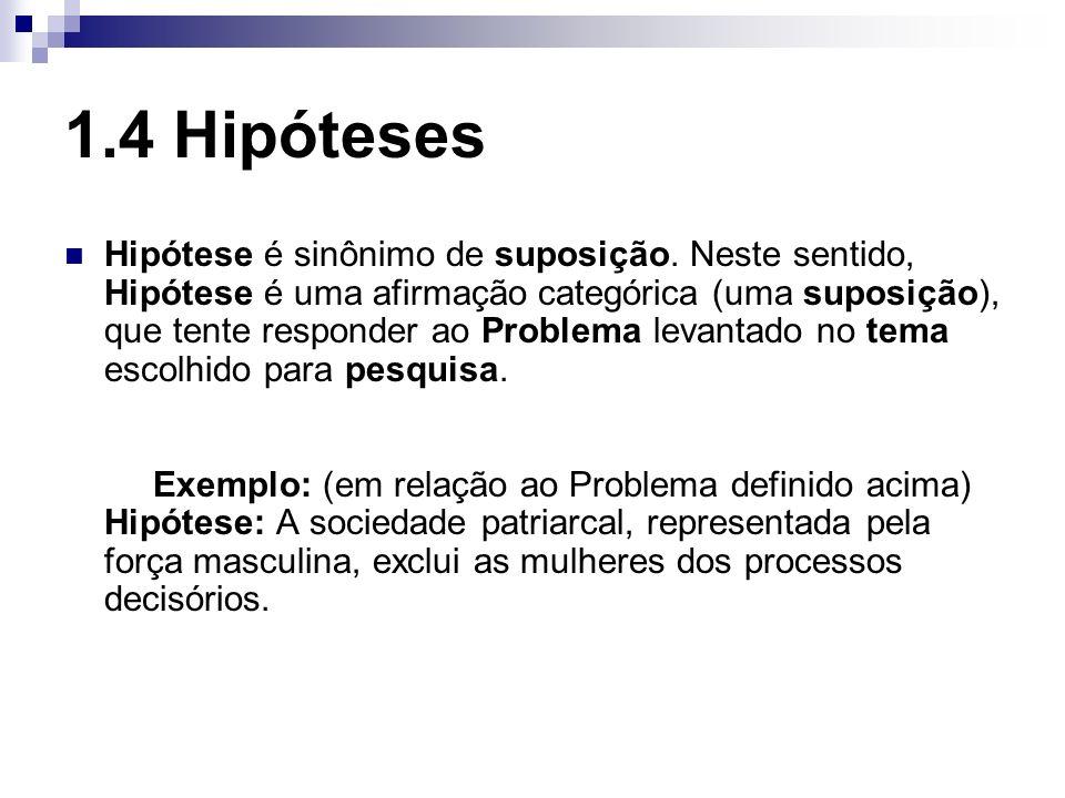 1.4 Hipóteses Hipótese é sinônimo de suposição. Neste sentido, Hipótese é uma afirmação categórica (uma suposição), que tente responder ao Problema le