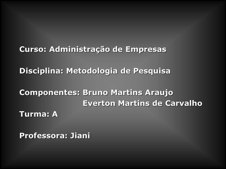 Curso: Administração de Empresas Disciplina: Metodologia de Pesquisa Componentes: Bruno Martins Araujo Everton Martins de Carvalho Everton Martins de