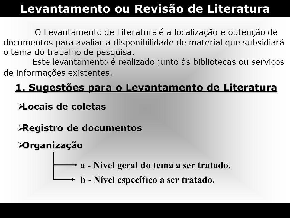Levantamento ou Revisão de Literatura O Levantamento de Literatura é a localização e obtenção de documentos para avaliar a disponibilidade de material