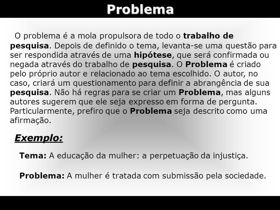 Problema O problema é a mola propulsora de todo o trabalho de pesquisa. Depois de definido o tema, levanta-se uma questão para ser respondida através