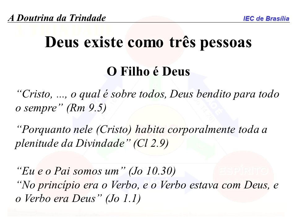 IEC de Brasília A Doutrina da Trindade Deus existe como três pessoas O Filho é Deus Cristo,..., o qual é sobre todos, Deus bendito para todo o sempre