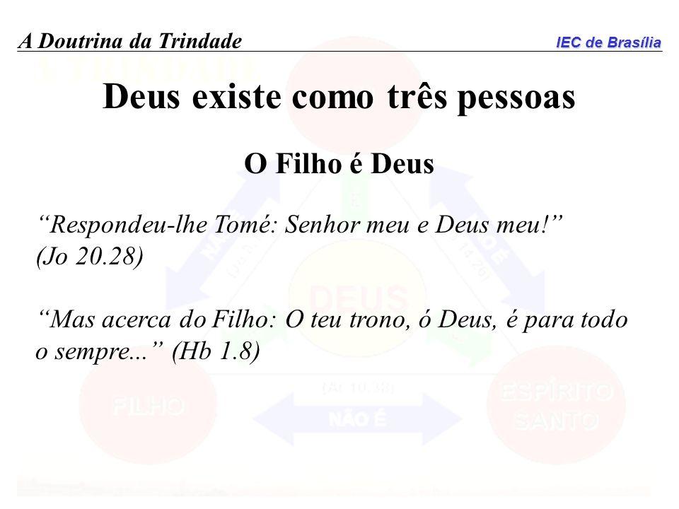 IEC de Brasília A Doutrina da Trindade Deus existe como três pessoas O Filho é Deus Respondeu-lhe Tomé: Senhor meu e Deus meu! (Jo 20.28) Mas acerca d