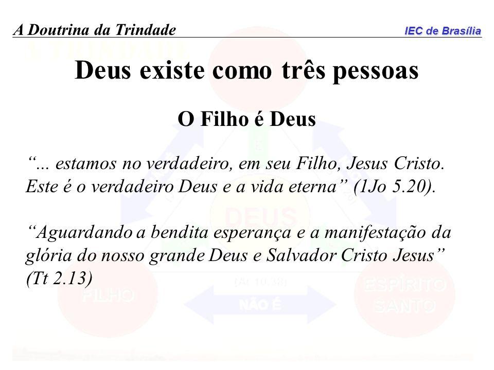IEC de Brasília A Doutrina da Trindade Deus existe como três pessoas O Filho é Deus... estamos no verdadeiro, em seu Filho, Jesus Cristo. Este é o ver