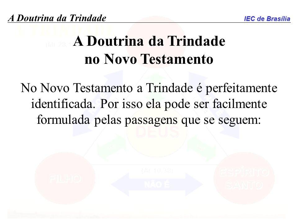 IEC de Brasília A Doutrina da Trindade no Novo Testamento No Novo Testamento a Trindade é perfeitamente identificada. Por isso ela pode ser facilmente