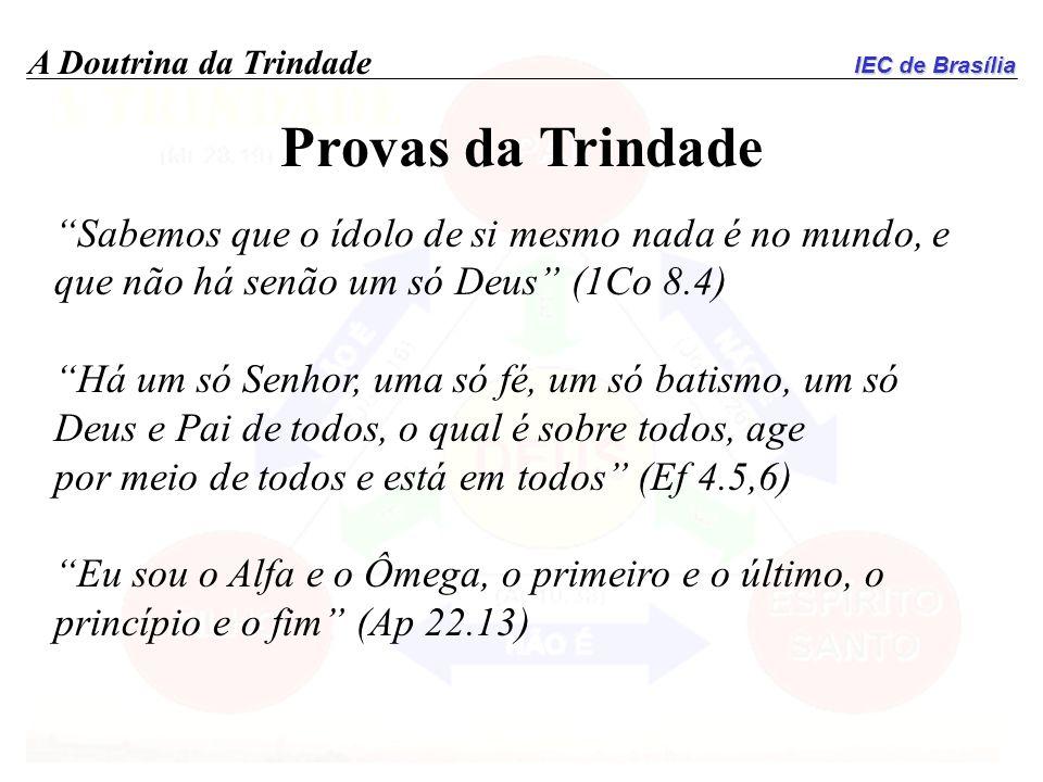IEC de Brasília A Doutrina da Trindade Provas da Trindade Sabemos que o ídolo de si mesmo nada é no mundo, e que não há senão um só Deus (1Co 8.4) Há