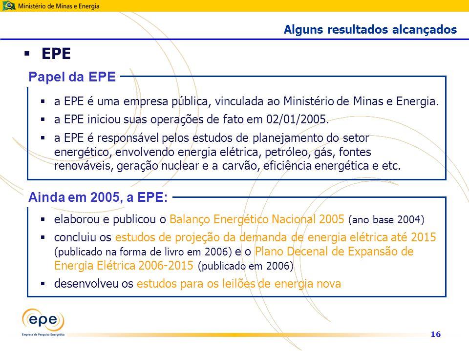 16 EPE a EPE é uma empresa pública, vinculada ao Ministério de Minas e Energia.